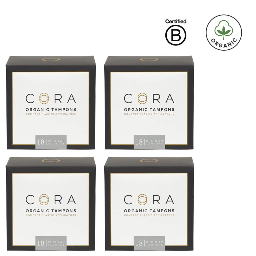 Cora Organic Cotton Tampons with Compact Applicator - Regular (72 Count)