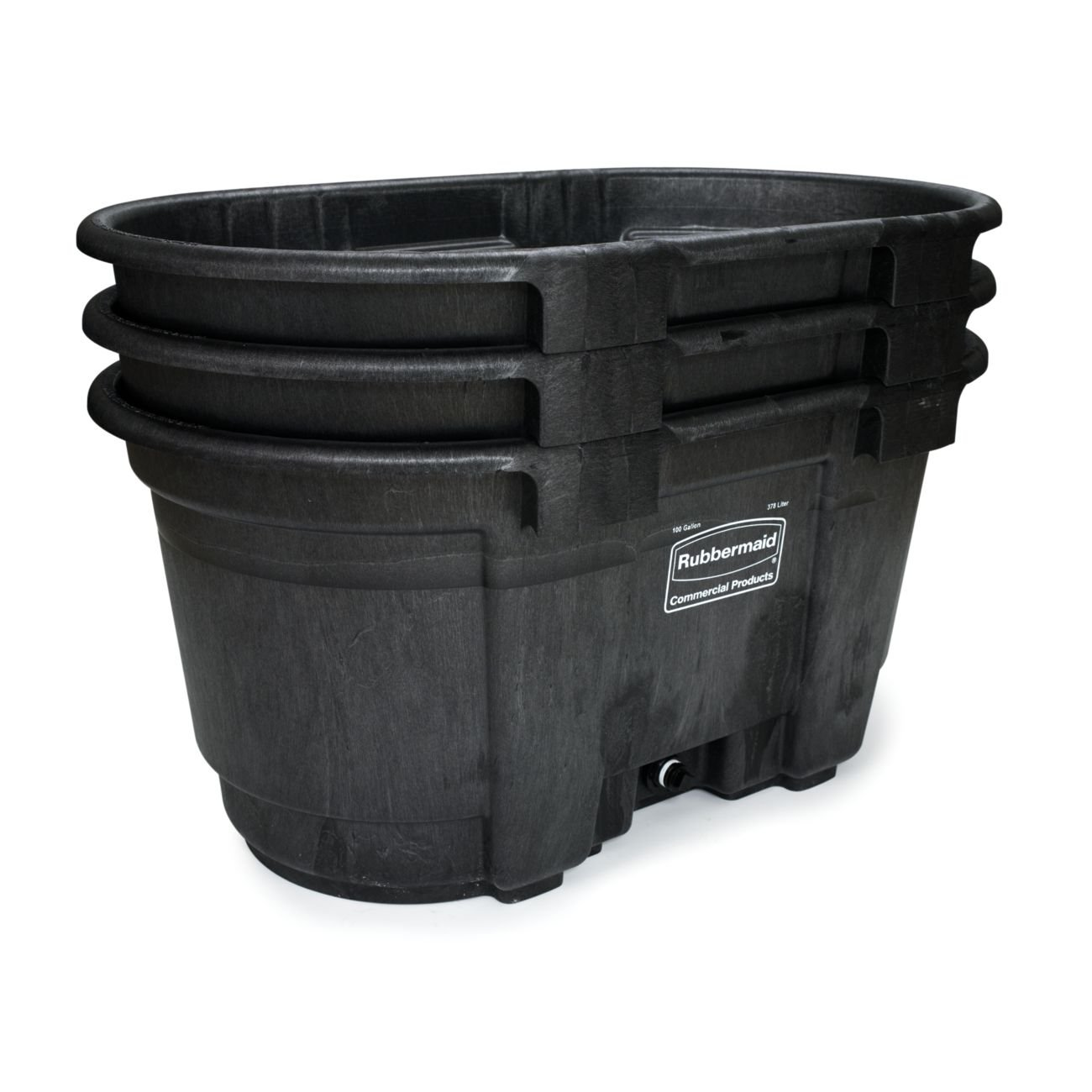 Rubbermaid Commercial FG424288BLA Structural Foam Stock Tank, 100 Gallon Capacity, 53'' Length x 25'' Height, Black by Rubbermaid Commercial Products (Image #1)