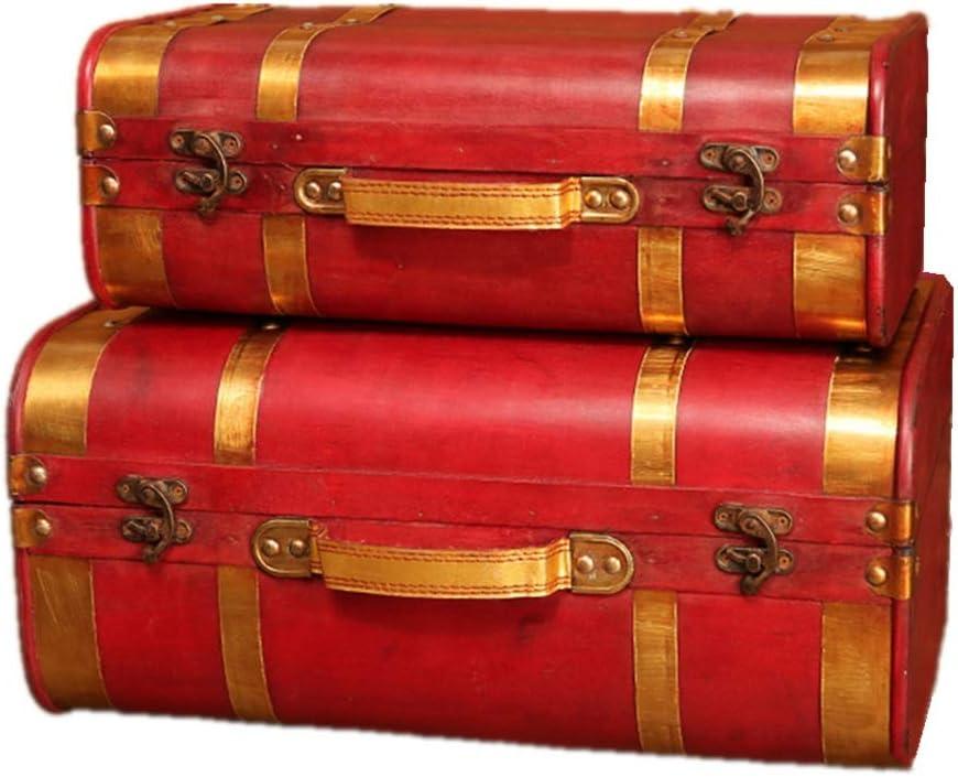 Maleta Retro Disparos Cajas de joyería de Maletas de la Vendimia de Madera Puntales Cajas Pecho Tronco de la Caja 2pcs para la Familia y los Viajes (Color : Red, Size