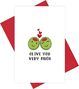 Cute Olive You Card, Funny Punny Food Anniversary Card, Veggie Lovers Valentine's Day Card for Him Her