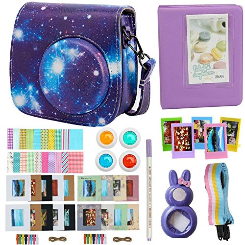 Alohallo Instax Mini 9 Mini 8 Mini 8 + Accessories FujiFilm Instax Mini 8/8+/ 9 Instant Film Camera Camera Case/Lens / Mini Album/Color Frame/Sticker / Strap/Pens/ Filter(Universe)