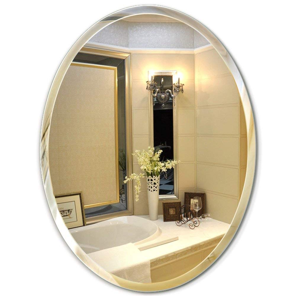 5070CM Mirror Oval Bathroom Wall Frameless Bathroom, Dresser washbasin, Wall-Mounted Bathroom (color   -, Size   50  70CM)