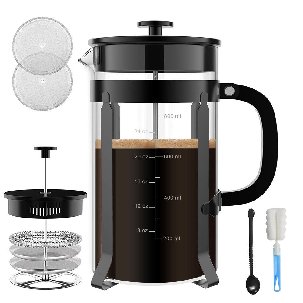 Chrider French Press Coffee Maker (34 oz 8 Cups) Coffee Press with 304 Stainless Steel Stand and 4 Filter Screens, Precise Scale Easy to Clean Durable Heat Resistant Borosilicate Glass - Black by Chrider (Image #2)