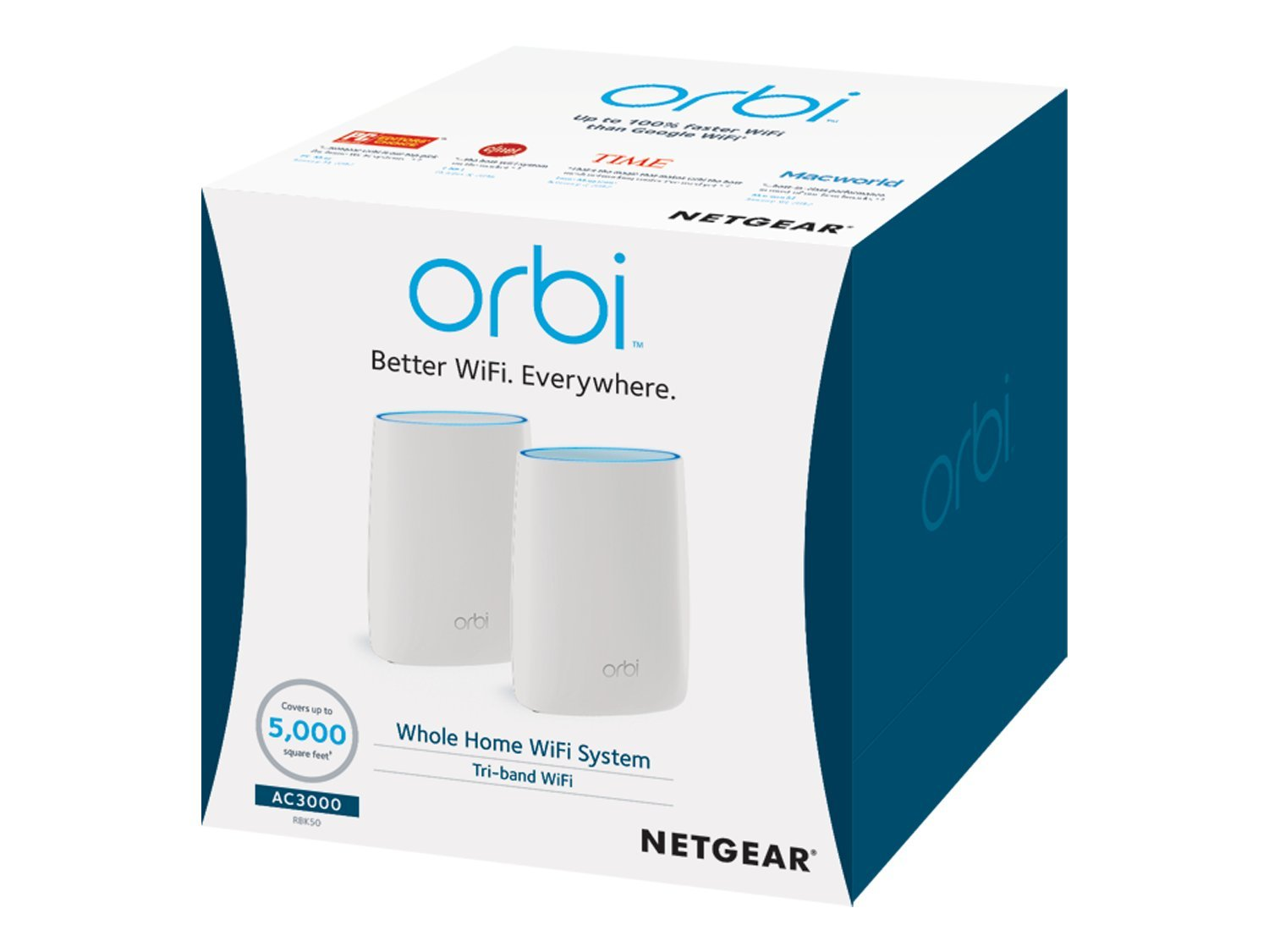 NETGEAR Orbi Whole Home Mesh WiFi System with Tri-band – Eliminate WiFi dead zones, Simple setup, Single network name, Works with Amazon Alexa, Up to 5,000 sqft, AC3000 (Set of 2) by NETGEAR (Image #7)