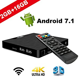 TV Box Android 7.1 - VIDEN W2 Smart TV Box Amlogic S905W Quad Core, 2GB RAM & 16GB ROM, 4K*2K UHD H.265, HDMI, USB*2, WiFi Media Player, Android Set-Top Box