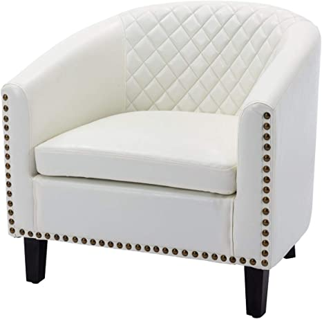 Lokee Barrel Accent Chair with Arms Faux Leather Club Chairs Bucket Chair  Upholstered Tub Chair for Living Room Bedroom (White)