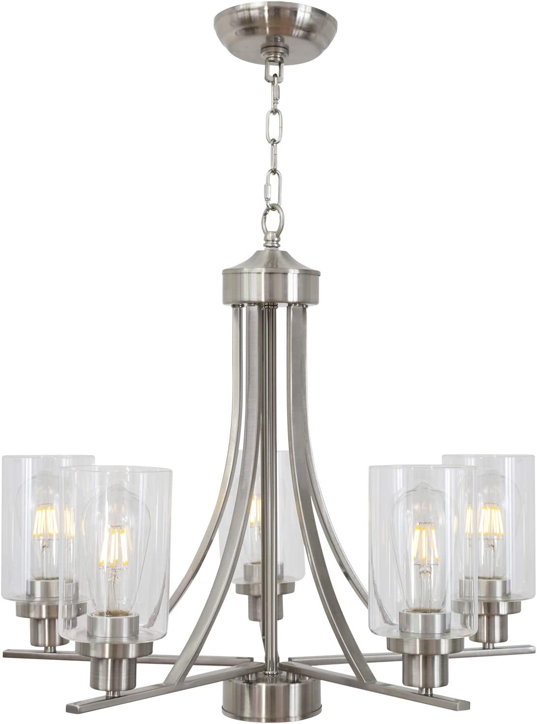 Bonlicht Traditional Chandelier Lighting 5 Light Brushed Nickel Modern Light Fixtures Hanging Pendant Lighting With Clear Glass Shade Classic Ceiling Lights For Kitchen Dining Room Living Room Island Home Improvement