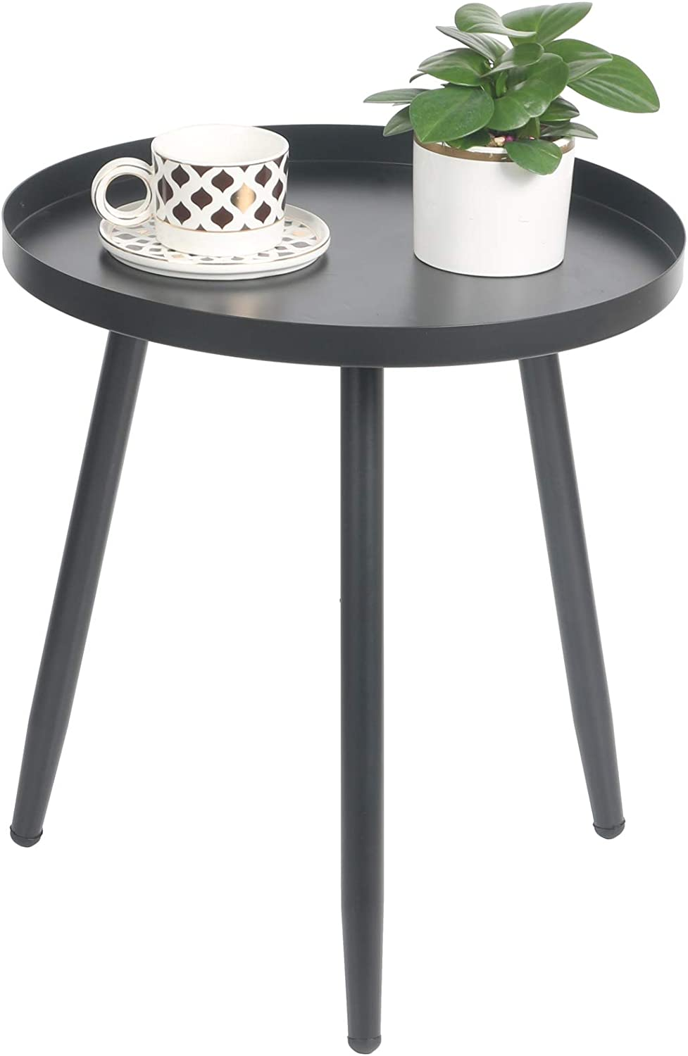 EXILOT Side Table, Round Metal Nightstand Modern Home Decor Coffee Tea End Table Accent Tables for Living Room Bedroom Office Small Spaces, 19.7