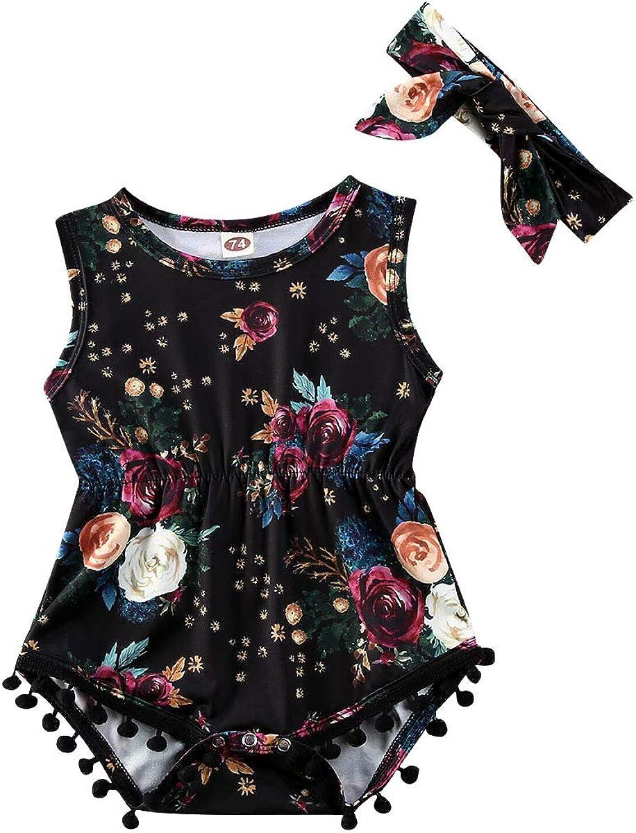 Newborn Baby Girls Floral One Piece Bodysuit Romper Headband 2Pcs Sets Outfits