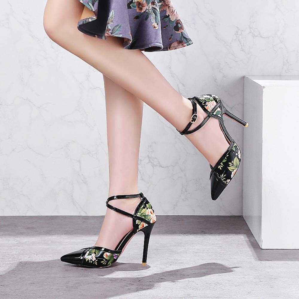 QINGMM Frauen Frauen Frauen Glamouröse Lackleder High Heels Mode Schnalle Spitze Sandalen Damen Knöchelriemen Pumps d6725d