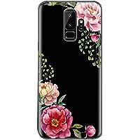 Teryei kompatibel mit Hülle Galaxy S9, Crystal Clear Transparent Handyhülle TPU Silikon Backcover Case Blossom Blühen Blumen Flower Muster Schutz HandyHülle Tasche Hülle für Galaxy S9