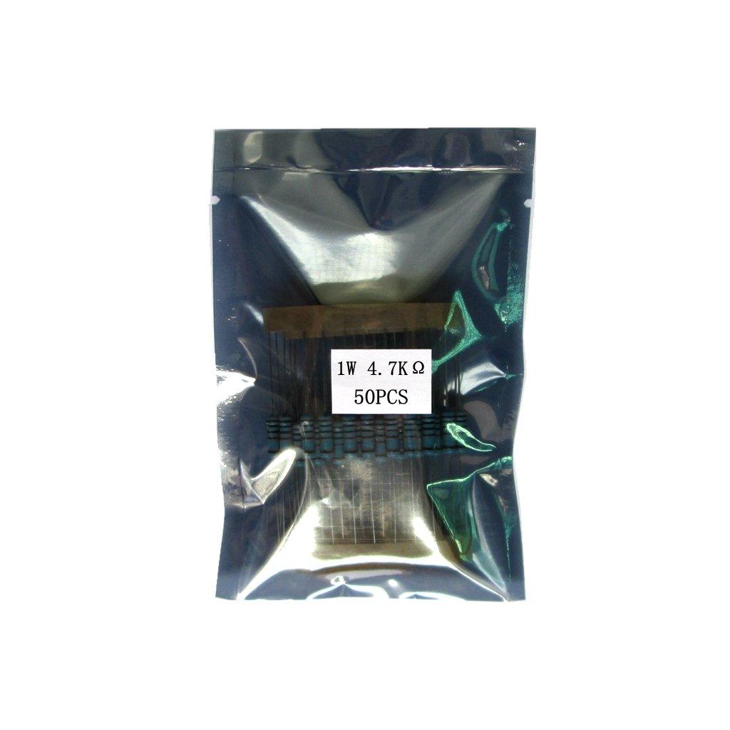 Sharplace 50 St/ück 1W 1 Watt Metallfolien Widerst/ände 1 Toleranz 4.7k Ohm