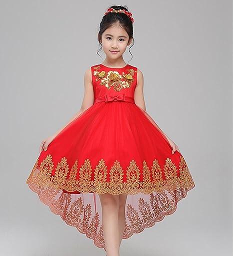 Vestido de niña niña Cola Vestido Princesa Vestido espectáculo ...