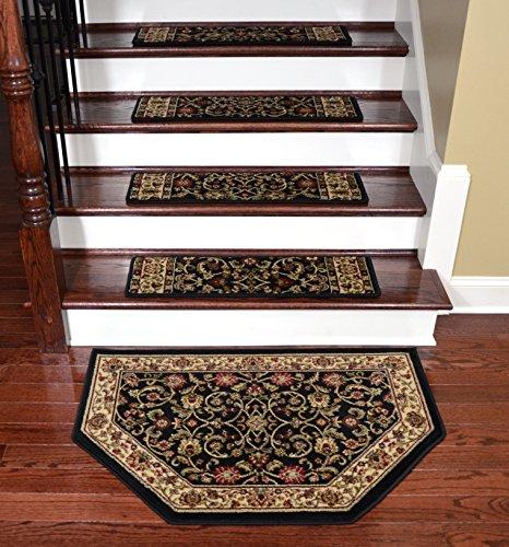 Dean Tape Free Pet Friendly Non-skid Stair Gripper Premium Carpet Stair Treads - Classic Keshan Ebony 31