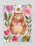 Ambesonne Watercolor Flower Decor Tapestry, Modern Illustration of Cute Bear with Flowers and Bee Animal Spirit Artsy Nature, Bedroom Living Room Dorm Decor, 40 W x 60 L Inches, Multi