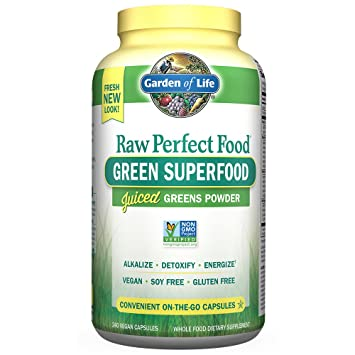garden food. Garden Of Life Vegan Green Superfood Supplement - Raw Perfect Whole Food Dietary Capsules, 240 0