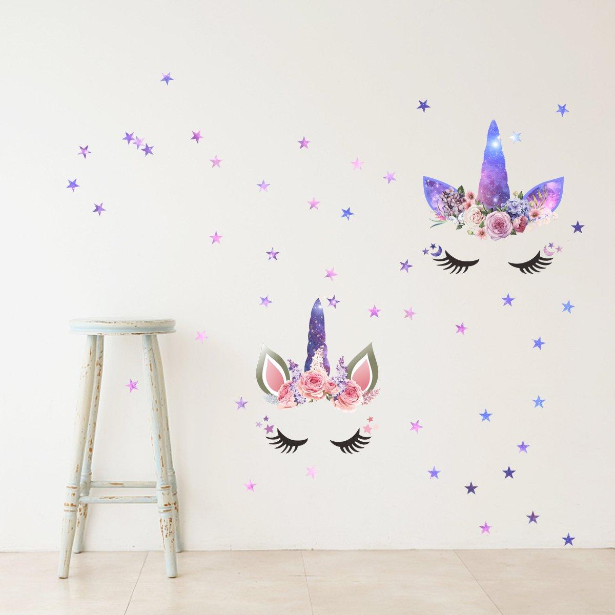 Mozamy Creative Unicorn Wall Decals Girls Wall Decals Girls Room Wall  Decals Girls Bedroom Wall Decor Unicorn Theme Party Decorations Floral  Galaxy ...