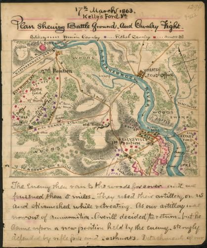 (1863 Map Plan shewing sic battle ground and cavalry fight, 17th March 1863, Kelly's Ford, Va. Map shows the area surrounding Kellysville, Va., and Kelly's Ford on the Rappahannock River.)