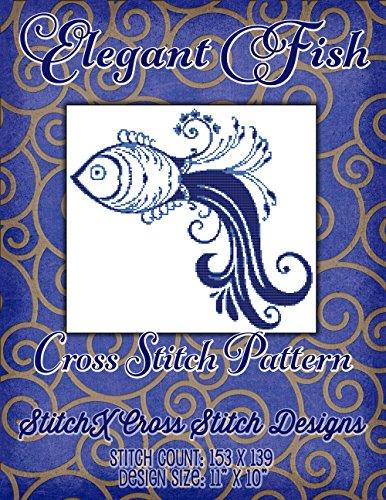 - Elegant Fish Cross Stitch Pattern - Art Deco Style Design - Modern Cross Stitch - Just 2 Floss Colors