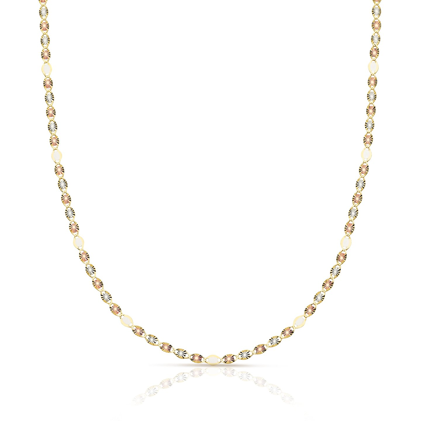 Fancy Tri- Color 14K Valentino Chain, Rose Gold, Yellow Gold, and White Gold (18) by Jewel Connection (Image #2)