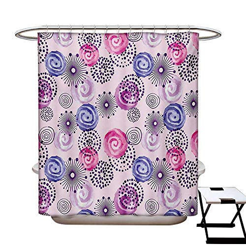 Purple Shower Curtains Fabric Watercolor Style Floral Fireworks Blooming Flowers Abstract Spiral Doodle Spots Art Bathroom Decor Set with Hooks W48 x L84 Blue Pink