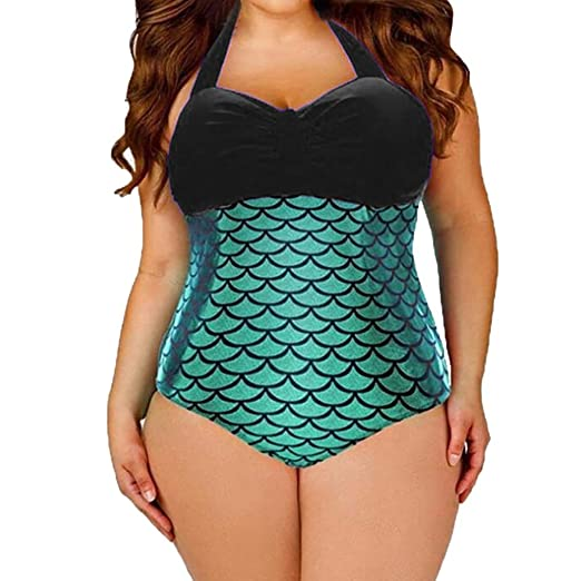 b2930b5e7080e Women's One Piece Swimsuit Mermaid Bikini Plus Size Padded Monokini Glitter Swimwear  Fish Scale Print Beachwear