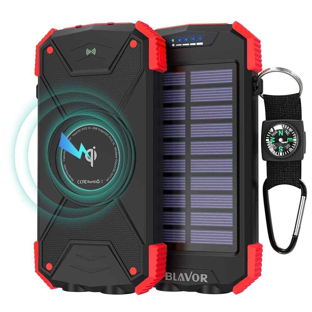Power Bank Solar Ladeger/ät,10000mAh Externer Akku,Tragbare Notfall-Energie mit Type-C Eingangsports Dual LED-Lich,Kompass f/ür iPhone,Samsung und andere Smartphones//Handys