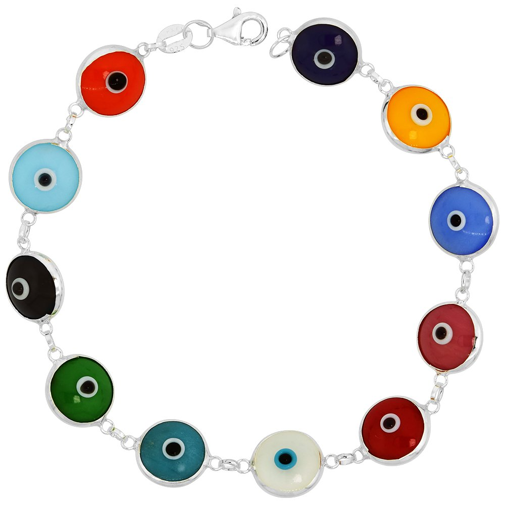 Sterling Silver Evil Eye Bracelet Multi Color, 7 inch Sabrina Silver