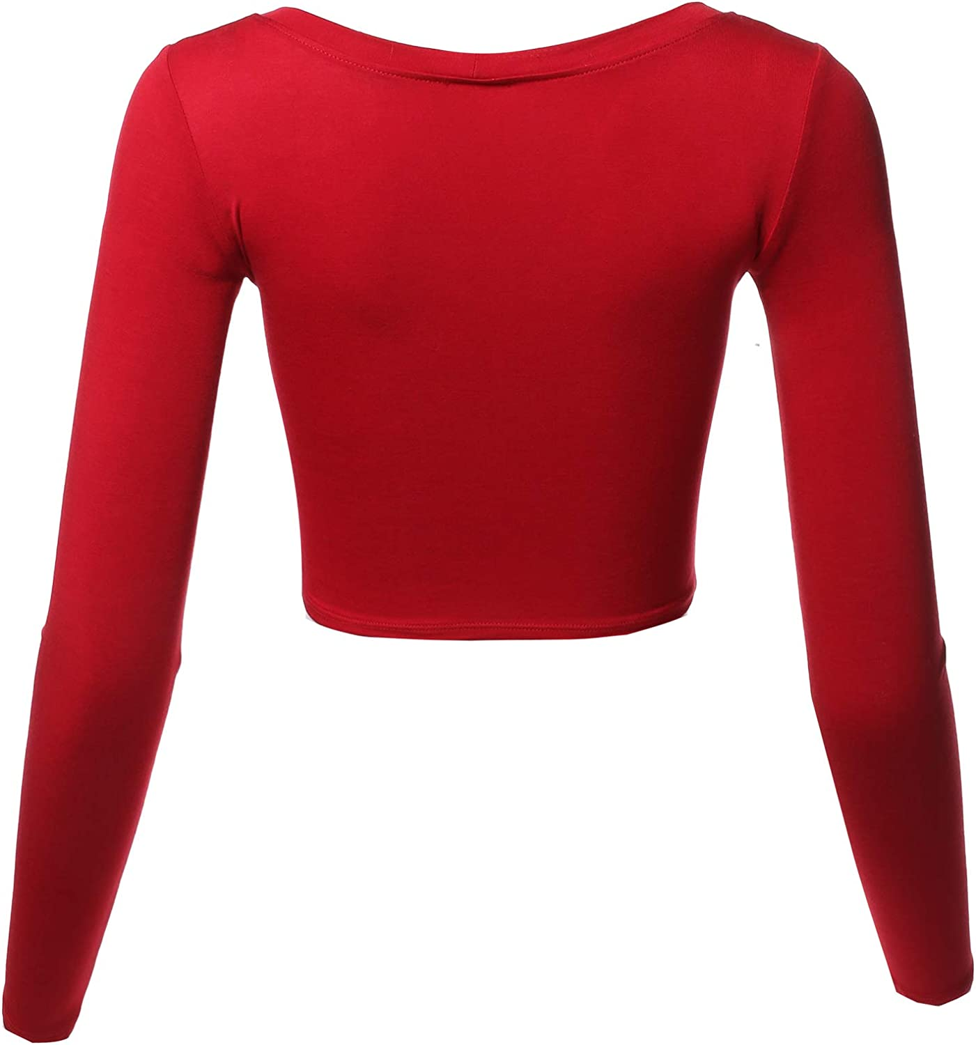 Womens Solid Round Neck Long Sleeve Basic Crop Top