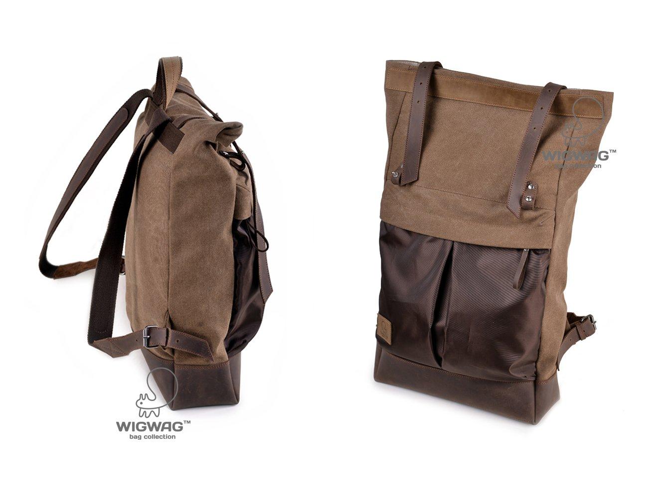 Roll Top backpack, canvas leather backpack, roll backpack, hipster backpack, laptop backpack, men's rucksack