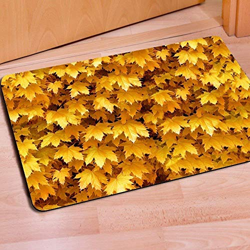 Yellow Gold Master - Cuitae Advancey 3.6x15.7 inches Doormat Water Absorbent Non-Slip Entrance Shoes Scraper Rug Indoor Kitchen Dining Living Hallway Bathroom Pet Mats Gold Yellow Maple Leaves Pattern