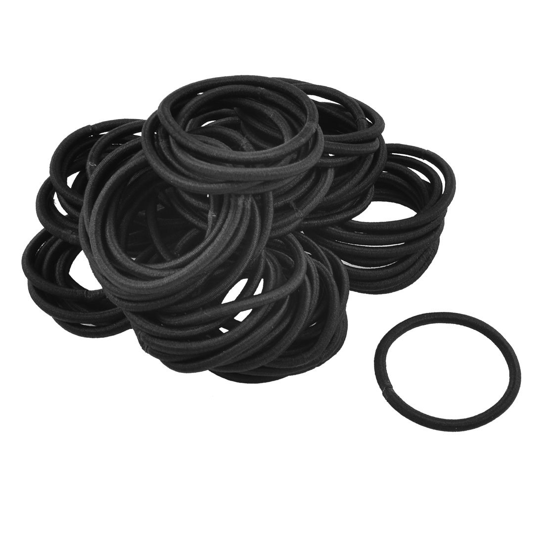 Amazon.com   uxcell 80 Pcs Black Elastic Rubber Hair Band Ponytail Holders  for Lady   Beauty d9caecf3b34
