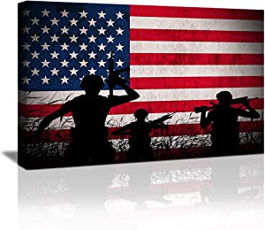 American Flag Wall Art Canvas Prints, USA pledge of allegiance wall art US Military Soldiers Army American Flag Poster, Vintage American Painting Canvas for Living Room Bedroom Framed Ready to Hang