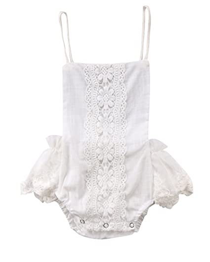 54c80c44ac1a6 Amazon.com: Baby Girl Lace White Embroidered Romper Infant Backless Ruffle  Outfit Clothing: Clothing