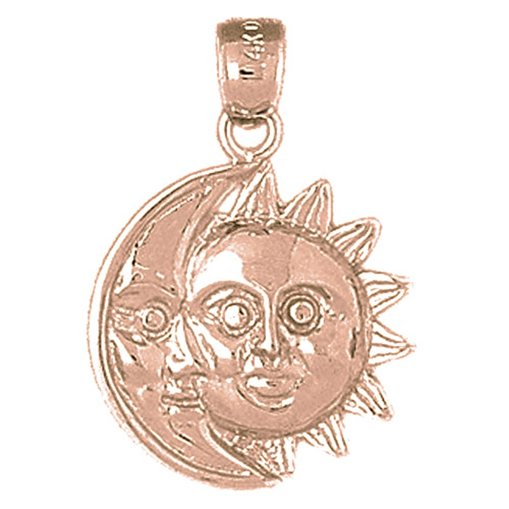 Rose Gold-plated Silver 25mm Sun And Moon Pendant