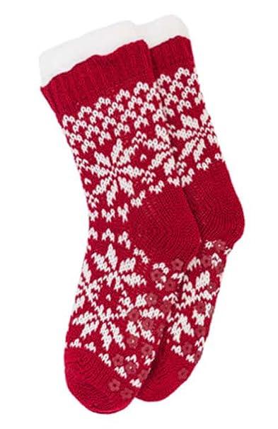 Fairisle Para Dama Forro Polar Grueso Calcetines De Pantufla - Rojo y crema, mujer, Unitalla: Amazon.es: Ropa y accesorios