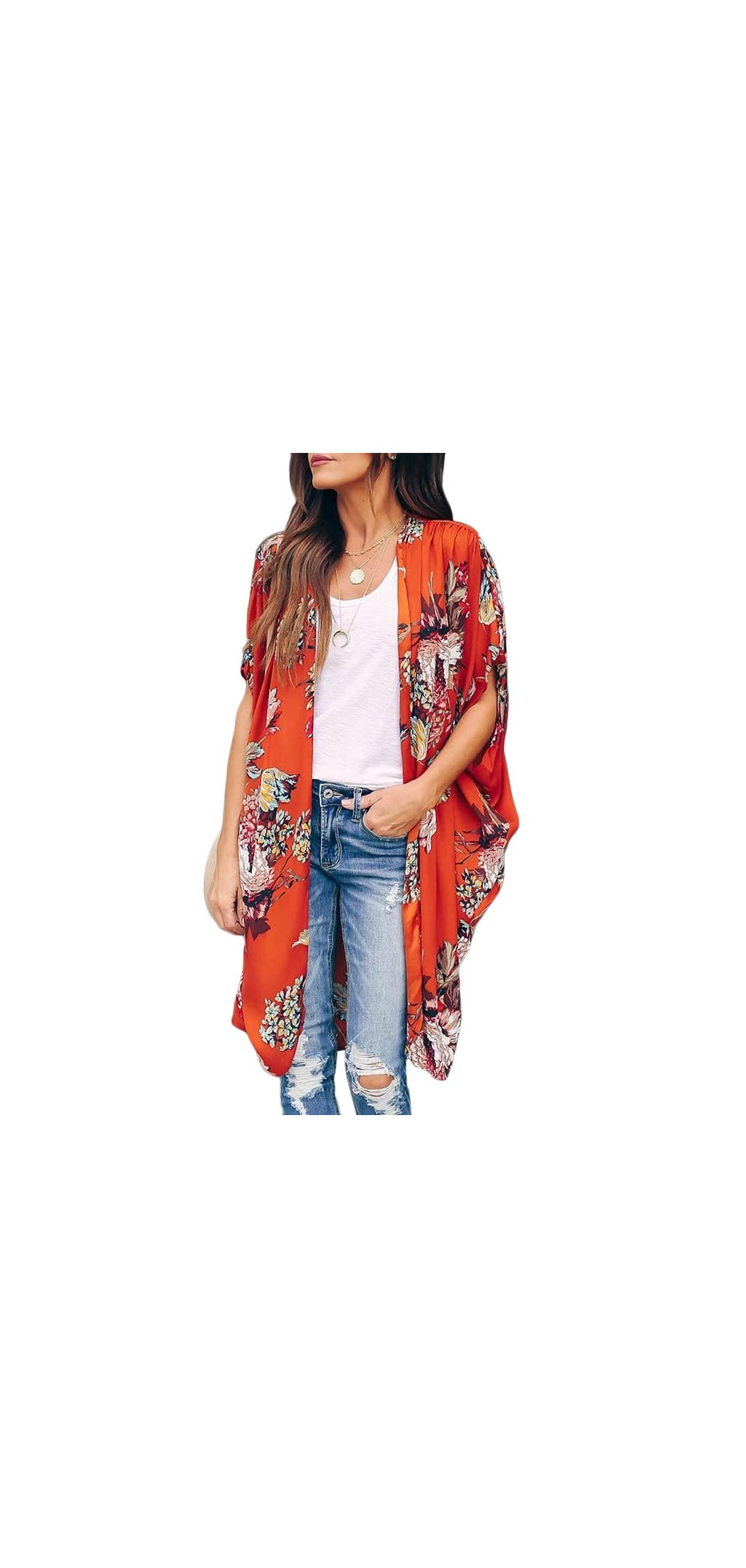 Womens Floral Kimono Duster Cardigans Short Sleeve Draped