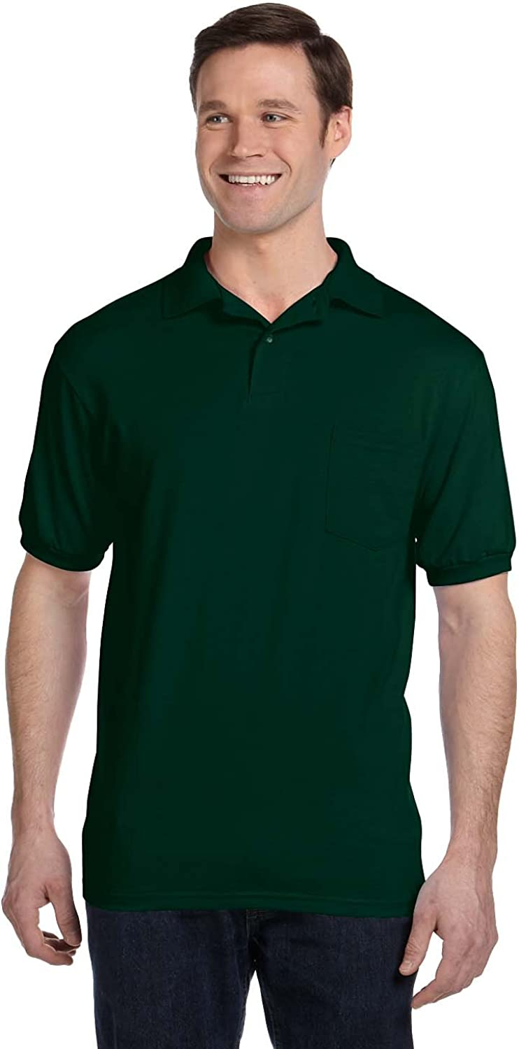 Hanes Mens Cotton-Blend EcoSmart/® Jersey Polo with Pocket 0504