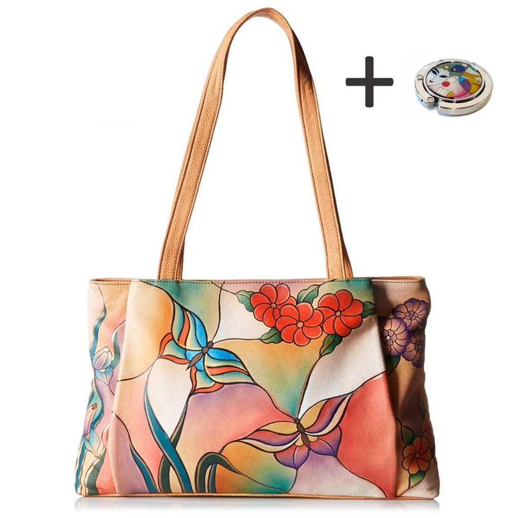 Anna By Anuschka Tote Handbag - Hand Painted Design on Real Leather - Free Purse Holder (Ex L Shopper Butterfly Glass Painting) by ANNA