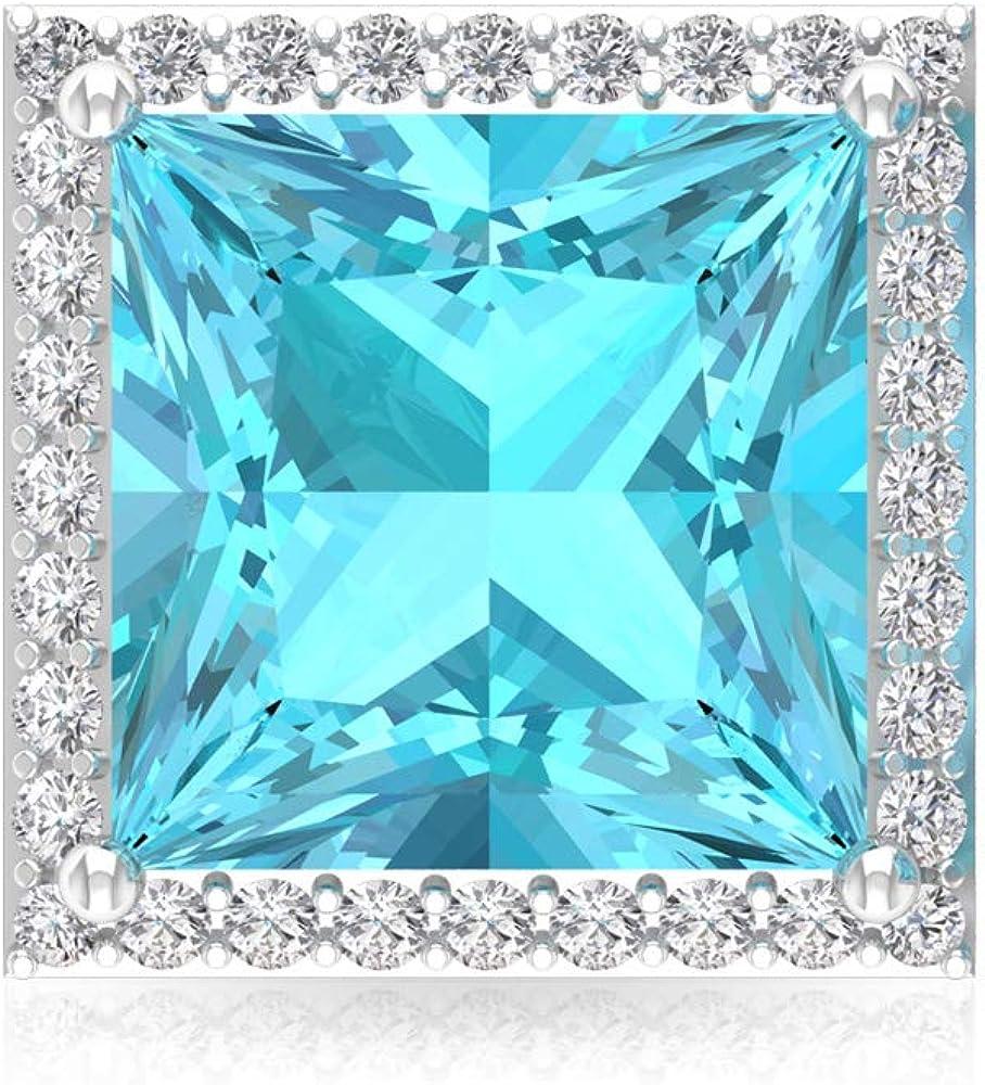 2.8 ct azul topacio suizo pendientes, princesa corte piedra preciosa solitario pendientes, IGI certificado declaración de diamante, IJ-SI diamante pendientes nupcial, tornillo hacia atrás