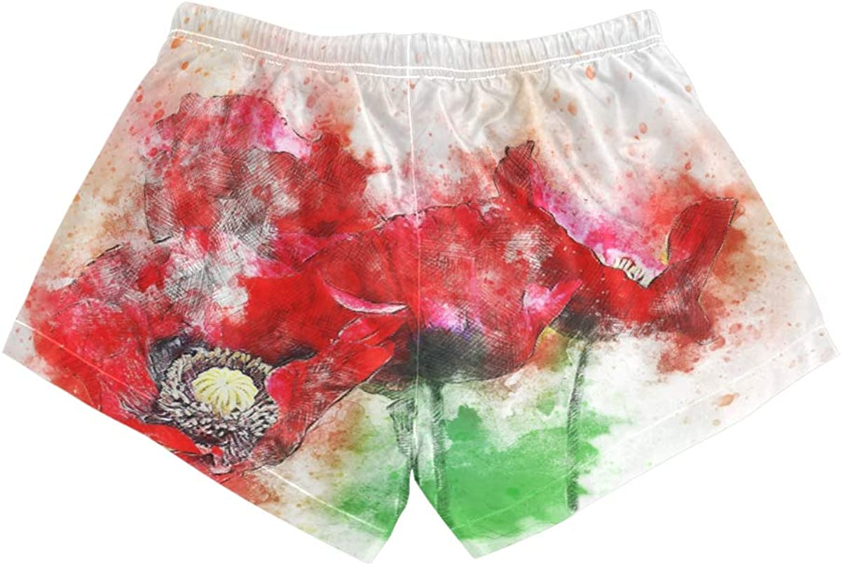 HEOEH Womens Red Flowers Watercolor Art Beach Shorts Pants Ladies Boardshort Swimming Trunks