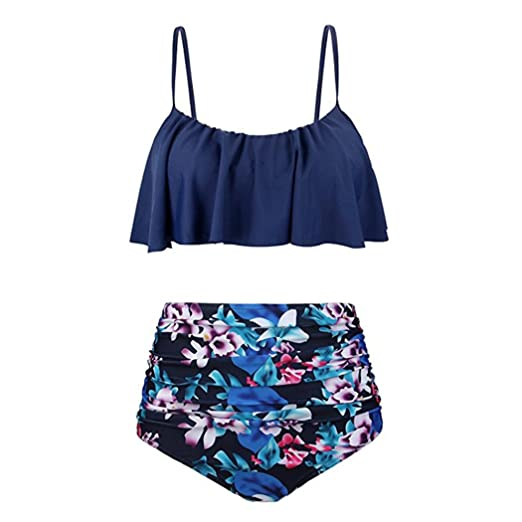 869b3f62ae Amazon.com  Sumen Teen Girls High Waist Swimsuit Summer Two Piece Bathing  Suit Skinny Bikini Sets (S