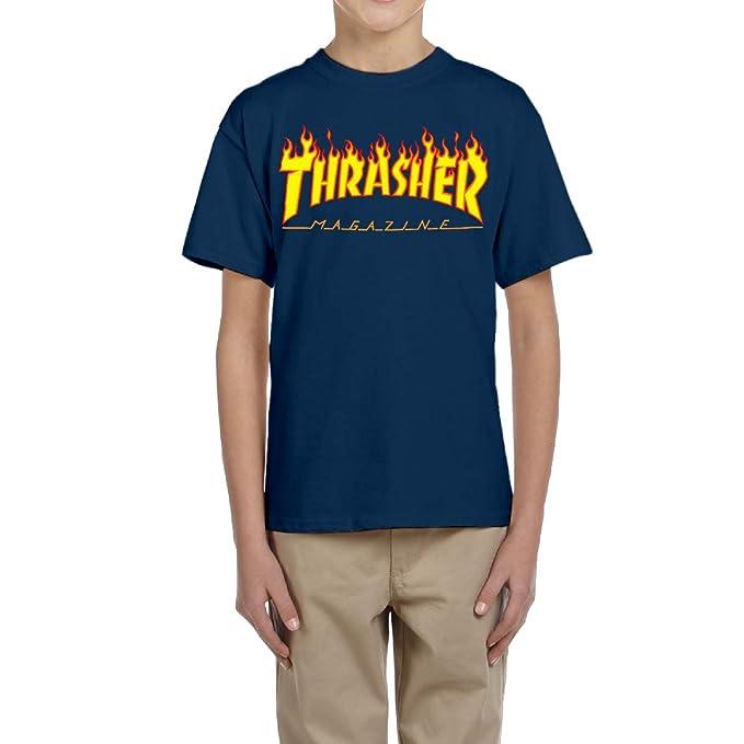 MERTYY Unisex Kid's Thrasher Magazine Skateboarding T-shirt Navy S