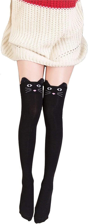 Wander G Women Cute Over Knee Socks Cotton Cartoon Animal Cat Bear Socks Thigh High Stockings Socks