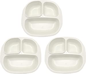 Happy Starla - 3 Pack Smiley Food Plates Bowl Serving Tray For Toddlers Kids Adults Made In USA Bpa Free (Ivory)