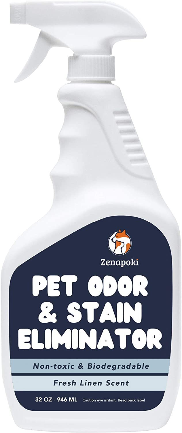 ZENAPOKI Pet Urine Odor Eliminator Spray - Pet Stain Remover and Pet Odor Eliminator Spray - Dog Pee Spray Cleaner, Pet Odor Spray, Pet Odor Eliminator for Home - Made in The USA, Natural Linen Scent