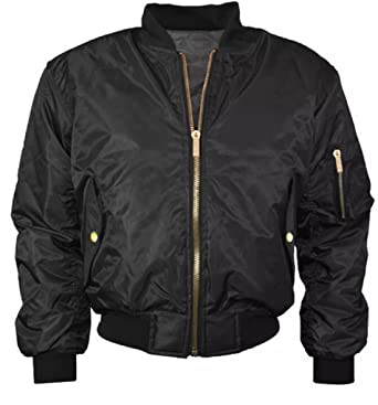17db767be96 Amazon.com  Women Ladies Classic Ma1 Padded Bomber Jacket Zip up ...