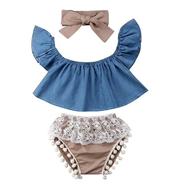268df5f93d9 Imcute Cute Baby Girls Short Sleeve Blouse Tube Top+High Waist Pom Pom  Short Pants
