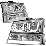 04 chevy truck hid headlights - Chevy Silverado/Classic/Avalanche Chrome Housing Clear Corner LED DRL Halo Headlights+Turn Signal Lights
