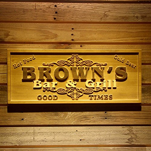 ADVPRO wpa0071 Name Personalized Bar & Grill Good Times Beer Wine Home Bar Décor 3D Engraved Wooden Sign - Medium 18.25